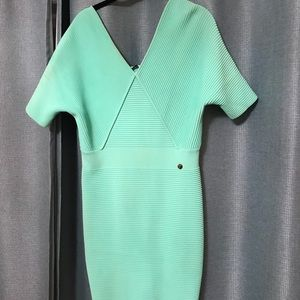 Versace bandage teal dress !